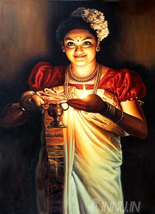 Buy Fine art painting Kerala lady with an oil lamp01 by Artist Unknown Artist