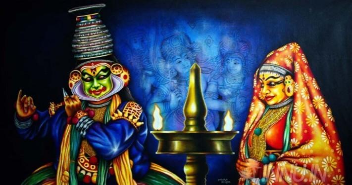 Buy Fine art painting Kathakali pair performing by Artist Unknown Artist