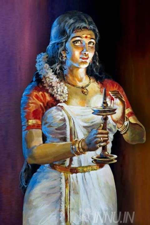 Buy Fine art painting Kerala lady with nilavilakku (lamp) by Artist Unknown Artist