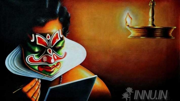 Buy Fine art painting Kathakali Chamayam (Costume Make up) by Artist Unknown Artist