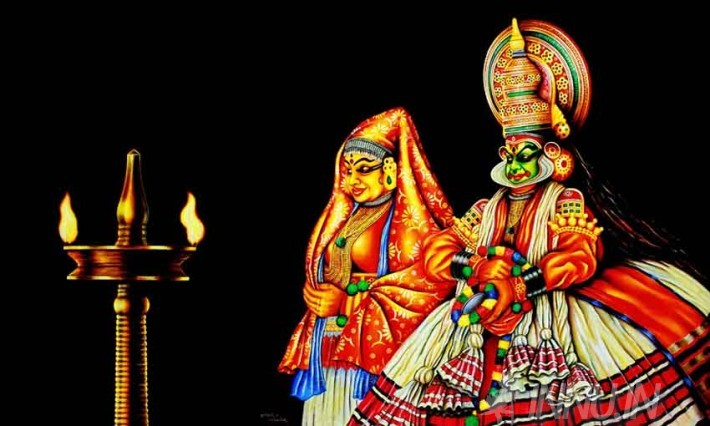 Buy Fine art painting Kathakali pair by Artist Unknown Artist