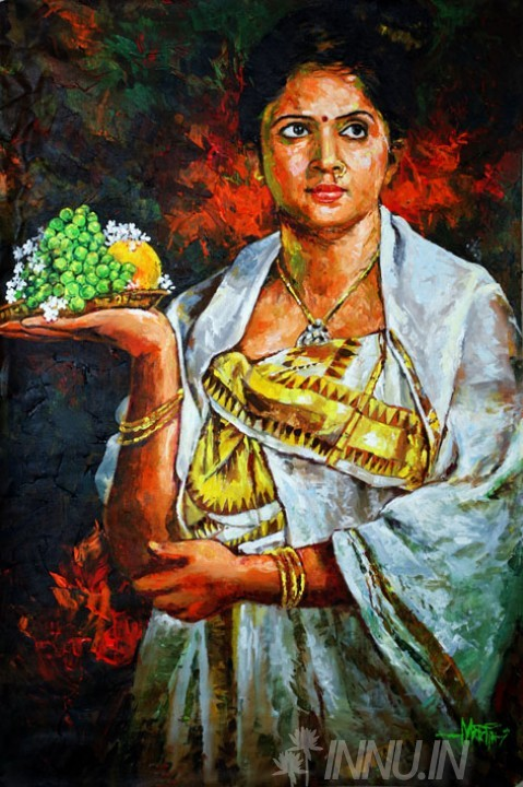 Buy Fine art painting Kerala lady in her traditional kasavu saree by Artist Unknown Artist