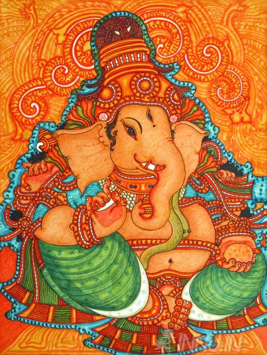 Buy Fine art painting Ganapati Mural by Artist Unknown Artist