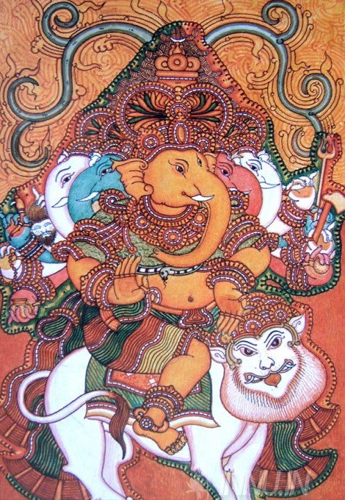Buy Fine art painting Ganapati and Lion Mural by Artist Unknown Artist