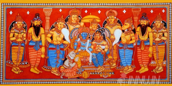 Buy Fine art painting Ram and Sita with Hanuman by Artist Unknown Artist