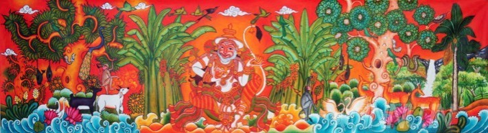 Buy Fine art painting Hanuman mural by Artist Unknown Artist