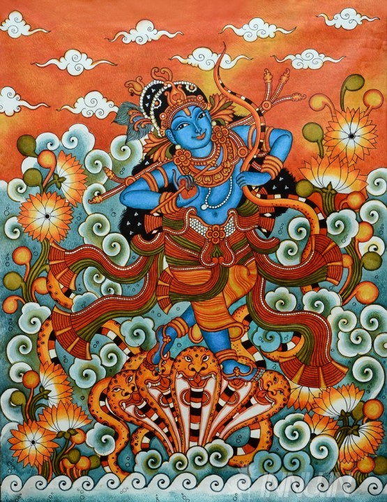 Art prints kaliya mardanam mural buy art print india innu for Buy mural paintings
