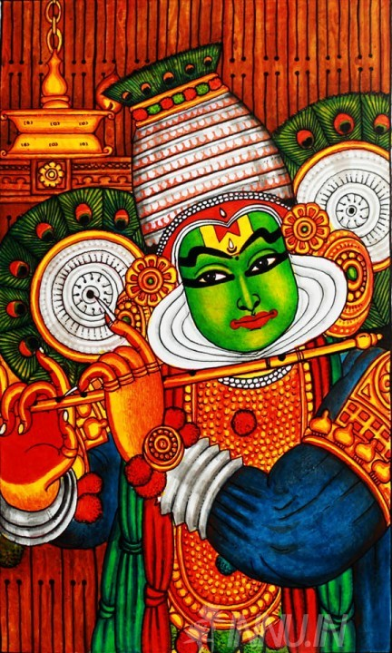 Buy Fine art painting Kathakali Mural Art by Artist Unknown Artist