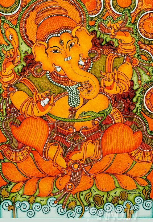 Buy Fine art painting Ganapati Mural Art 3 by Artist Unknown Artist
