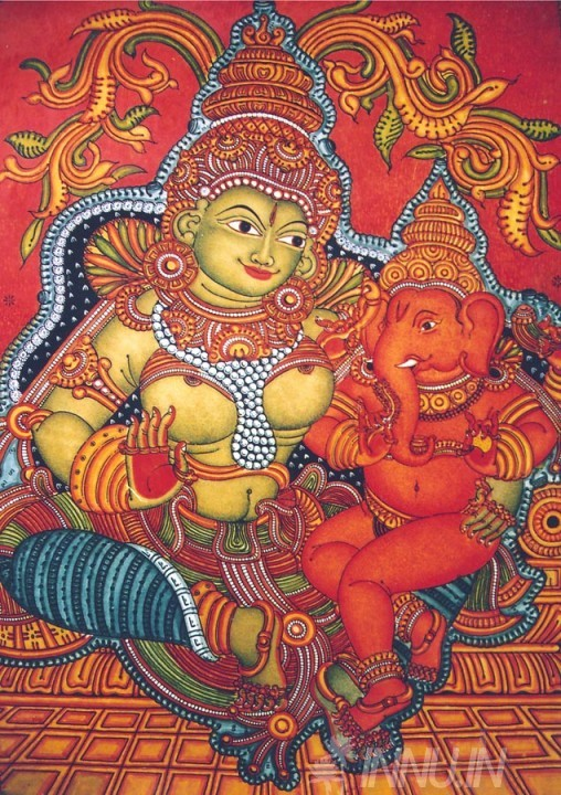 Buy Fine art painting Mural Ganapati & parvathy  by Artist Unknown Artist