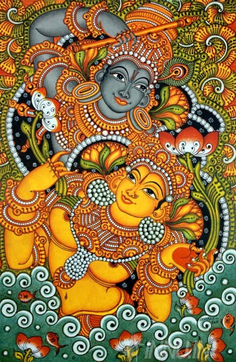 Buy Fine art painting Krishnan & Radha dance Mural by Artist Unknown Artist