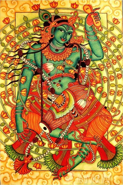 Buy Fine art painting Krishnan with Mridangam by Artist Unknown Artist