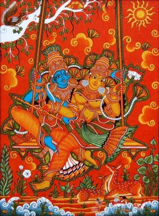 Buy Fine art painting Krishnan and Radha Swinging Mural by Artist Unknown Artist