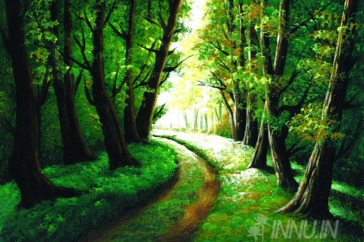 Buy Fine art painting Forest path road by Artist Unknown Artist
