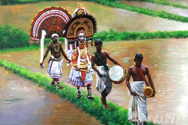 Buy Fine art painting Walking theyyam in paddy field (landscape) by Artist Unknown Artist