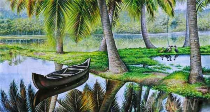 Buy Fine art painting Empty Anchored Rowboat in lake by Artist Unknown Artist