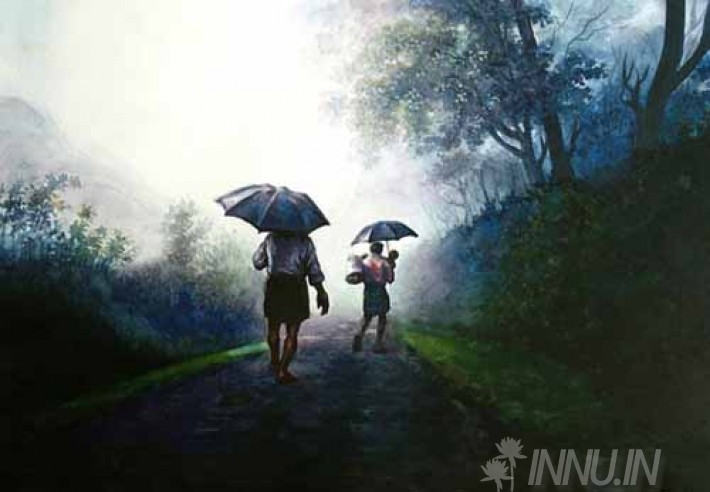 Buy Fine art painting Monsoon - Man with a child by Artist Unknown Artist
