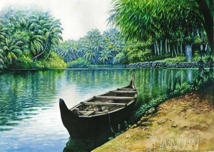 Buy Fine art painting Empty Anchored wodden Rowboat in lake by Artist Unknown Artist