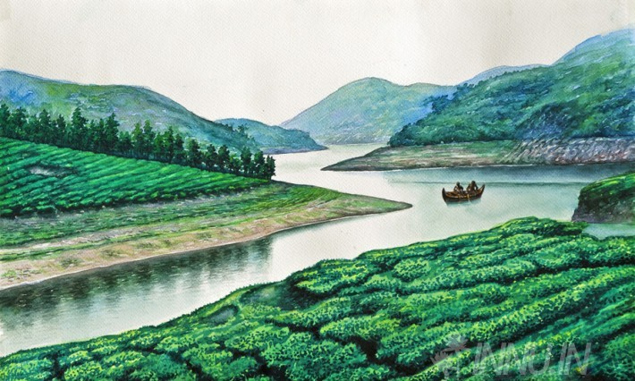 Buy Fine art painting Munnar Lake by Artist Unknown Artist