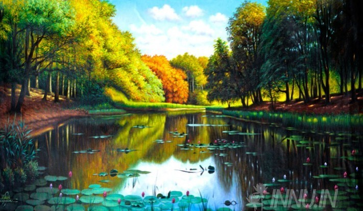 Buy Fine art painting Lotus lake by Artist Unknown Artist