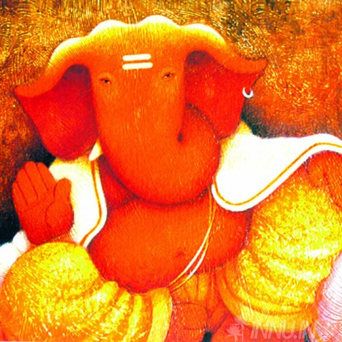 Buy Fine art painting Lord Ganapathi 14 by Artist Unknown Artist