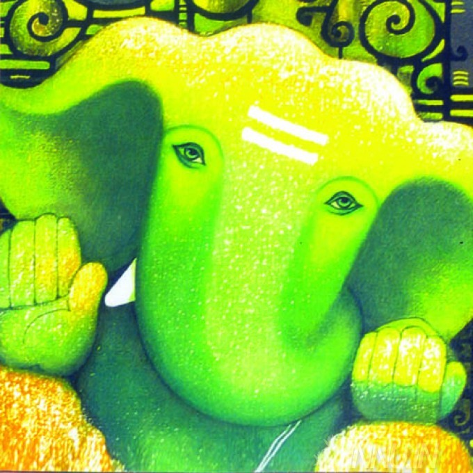 Buy Fine art painting Lord Ganapathi 19 by Artist Unknown Artist