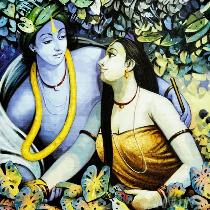 Buy Fine art painting Krishnan and Radha 8 by Artist Unknown Artist