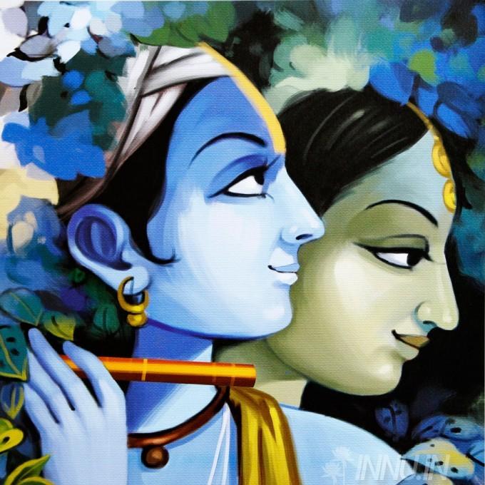 Buy Fine art painting Krishnan and Radha 12 by Artist Unknown Artist