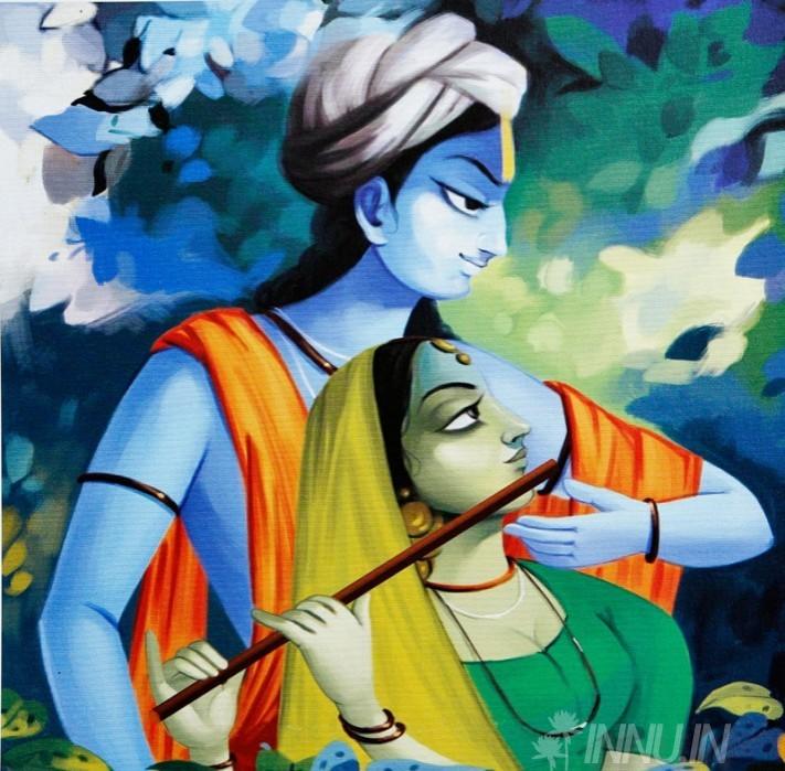 Buy Fine art painting Krishnan and Radha 13 by Artist Unknown Artist