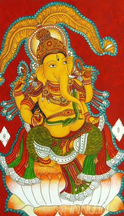 Buy Fine art painting Ganapathi Mural 1 by Artist Unknown Artist