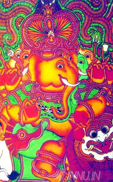 Buy Fine art painting Ganapathi Mural 3 by Artist Unknown Artist