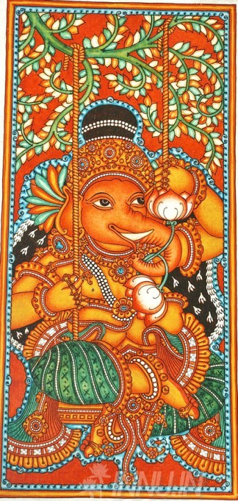 Buy Fine art painting Ganapathi Mural 4 by Artist Unknown Artist