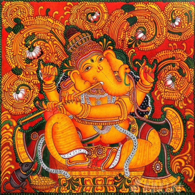 Buy Fine art painting Ganapathi Mural 6 by Artist Unknown Artist
