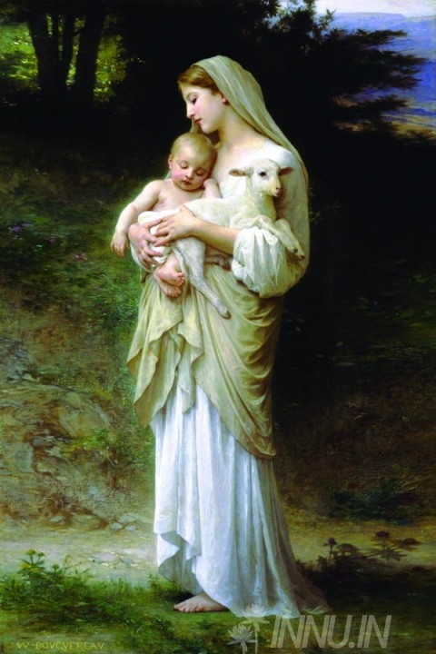 Buy Fine art painting Mother Mary with child Jesus and a sheep by Artist Unknown Artist