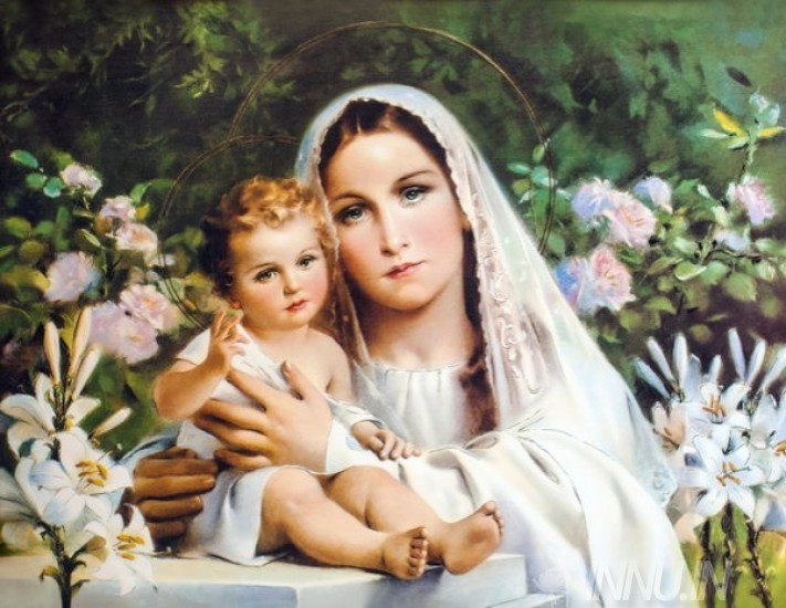 Buy Fine art painting Mother Mary with child Jesus 3 by Artist Unknown Artist