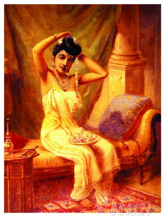 Buy Fine art painting  A Nair Woman Adorns Herself by Artist Raja Ravi Varma