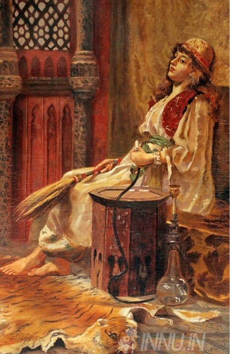 Buy Fine art painting A Girl Holding Hookah in One Hand and Broom in Another by Artist Raja Ravi Varma