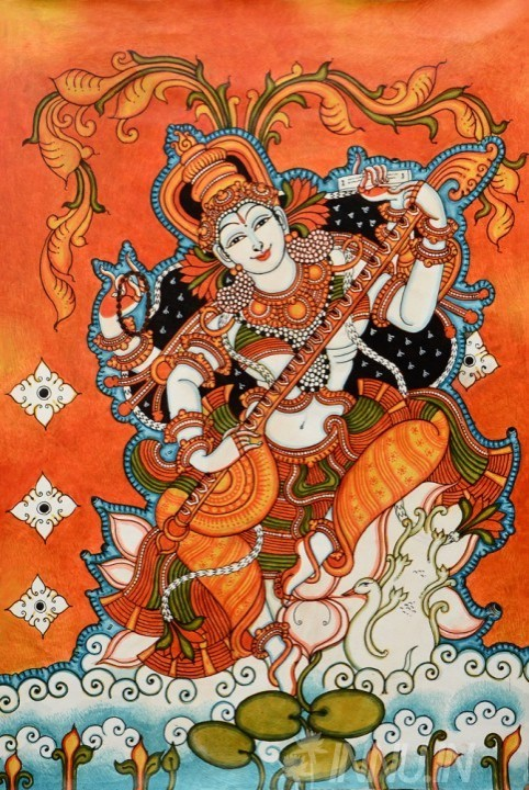 Buy Fine art painting Goddess Saraswathi Mural by Artist Unknown Artist
