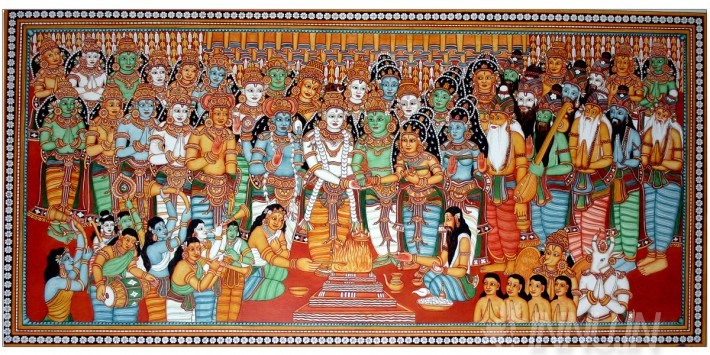 Buy Fine art painting Wedding of Lord Shiva and Goddess Parvathy by Artist Unknown Artist