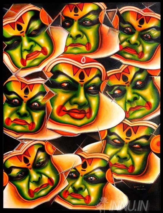Buy Fine art painting Navarasa in Kathakali by Artist Unknown Artist