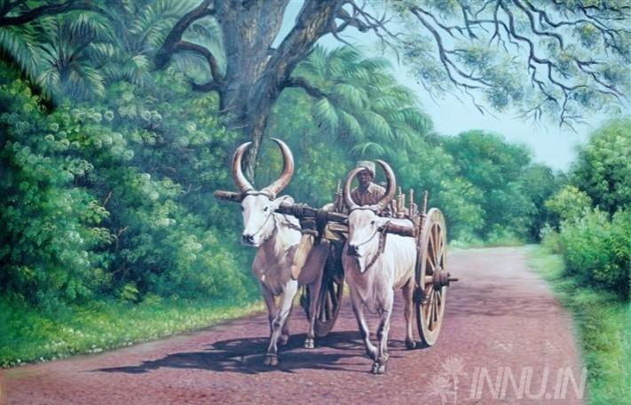 Buy Fine art painting Bullock Cart by Artist Unknown Artist