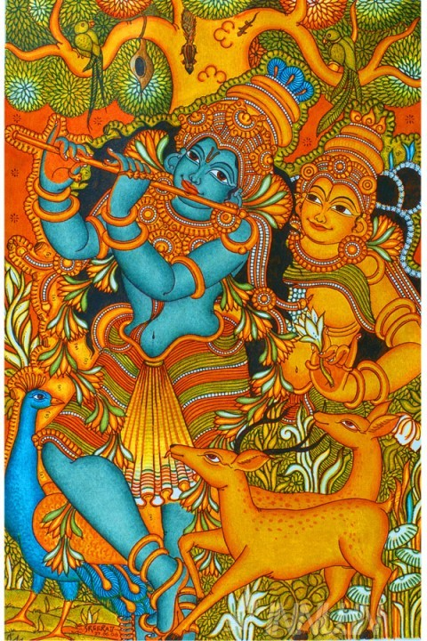 Buy Fine art painting Mural Radha and Krishnan by Artist Unknown Artist