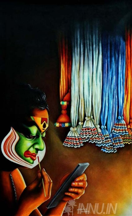 Buy Fine art painting Colourful Greenroom by Artist Unknown Artist