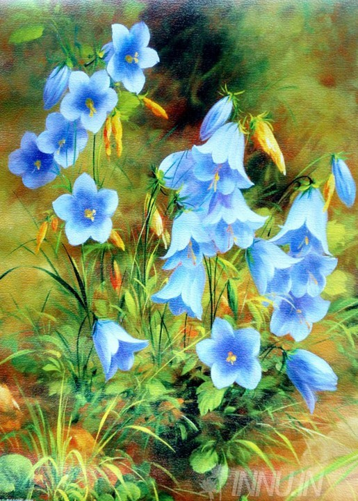 Buy Fine art painting Blue Flowers by Artist Unknown Artist