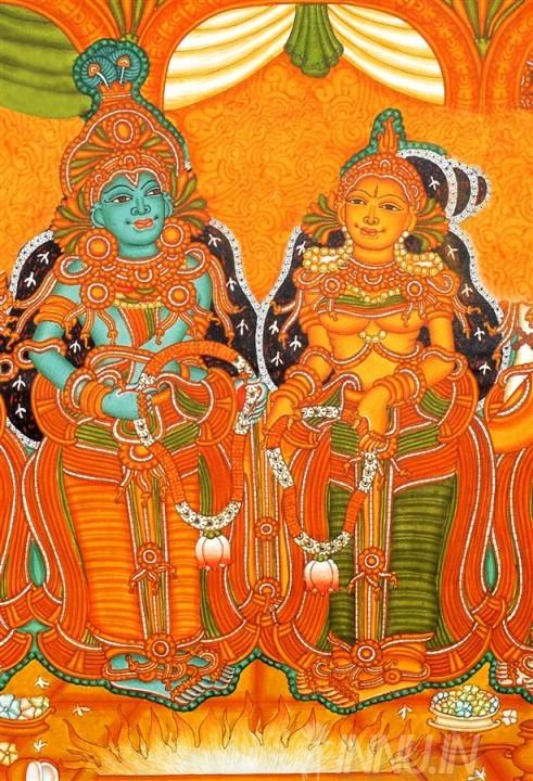 Buy Fine art painting Krishna Radha wedding Mural by Artist Unknown Artist