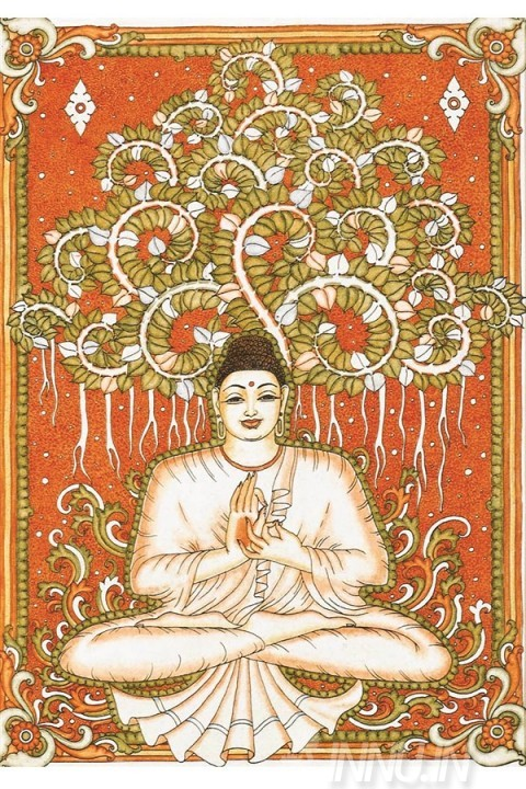 Buy Fine art painting Buddha Mural by Artist Unknown Artist