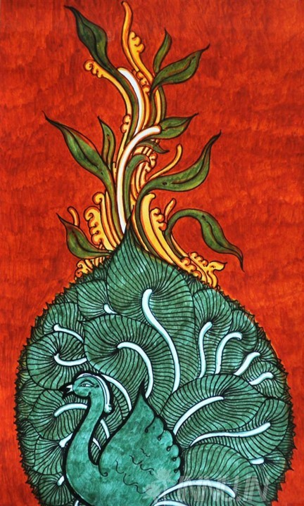 Buy Fine art painting Peacock Mural by Artist Unknown Artist