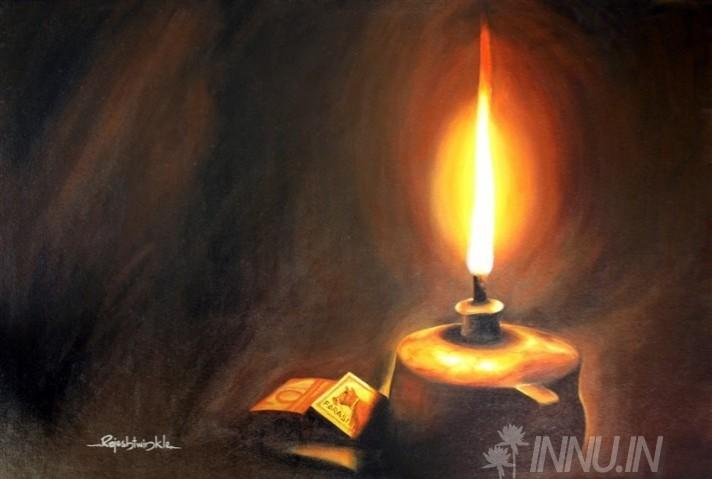 Buy Fine art painting Kerosene Lamp by Artist Rajesh Twinkle