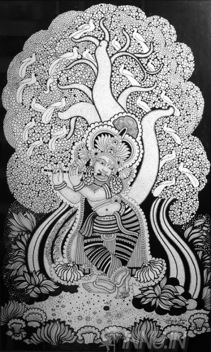 Buy Fine art painting Krishna Playing Flute 1 by Artist Unknown Artist