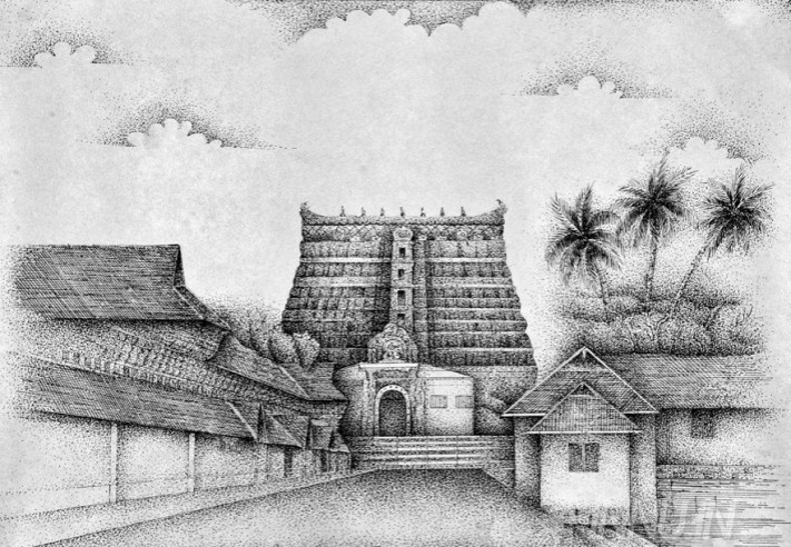 Buy Fine art painting Padmanabha Temple 1 by Artist Unknown Artist